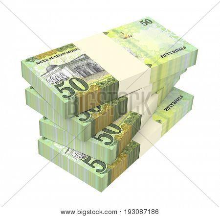 Saudi Arabia rials bills isolated on white background. 3D illustration.