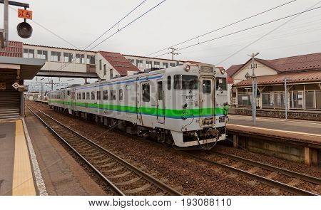HAKODATE JAPAN - MAY 24 2017: KiHa 40 837 type local train on Goryokaku station Hokkaido Island Japan. Is a diesel multiple unit train operated by JR Hokkaido