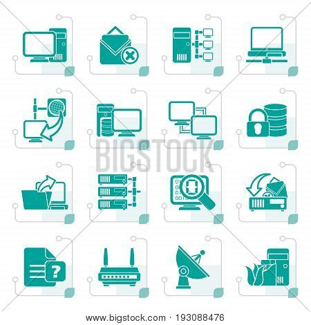 Stylized Computer Network and internet icons - vector icon set