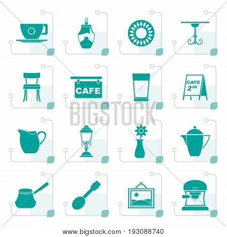 Stylized Cafe and coffeehouse icons - vector icon set