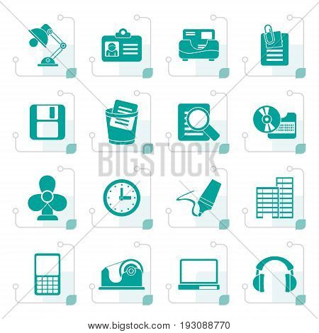 Stylized Office and business icons - vector icon set