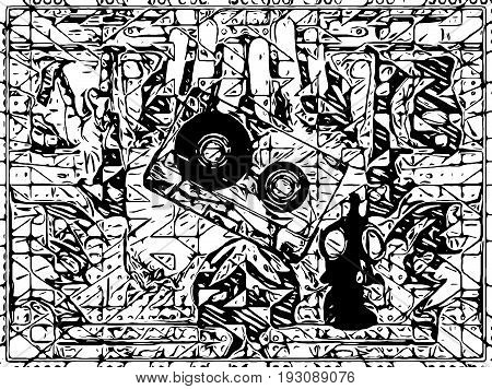 Psychedelic image in black and white on hip hop, brooklyn party rap