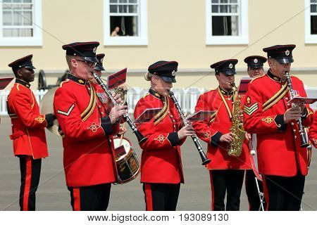 Sandhurst, Uk - June 18 2017: Woodwind Section Of The Military Band Of The Corps Of Royal Engineers