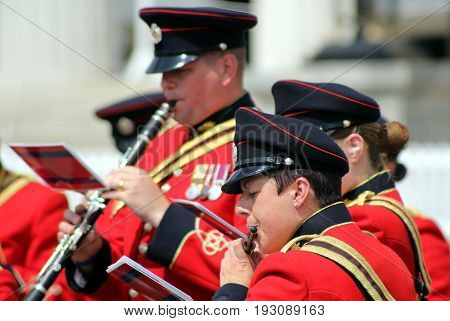 Sandhurst, Uk - June 18 2017: Musicians Of The Military Band Of The Corps Of Royal Engineers