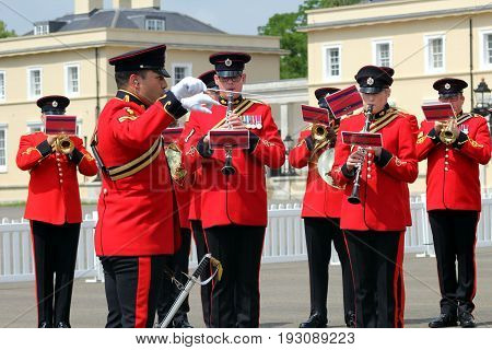 Sandhurst, Uk - June 18 2017: Conductor And Musicians Of The Military Band Of The Corps Of Royal Eng