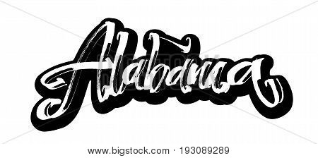 Alabama. Sticker. Modern Calligraphy Hand Lettering for Silk Screen Printing