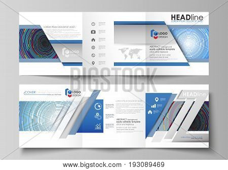 Set of business templates for tri fold square design brochures. Leaflet cover, abstract flat layout, easy editable vector. Blue color background in minimalist style made from colorful circles