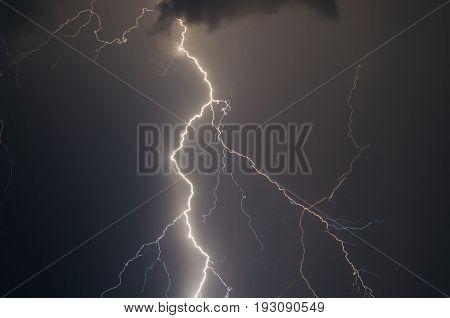 lightnings and thunder bolt strike at summer storm