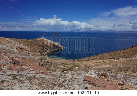 Breath Taking View Of Lake Titicaca As Seen From The Isla Del Sol