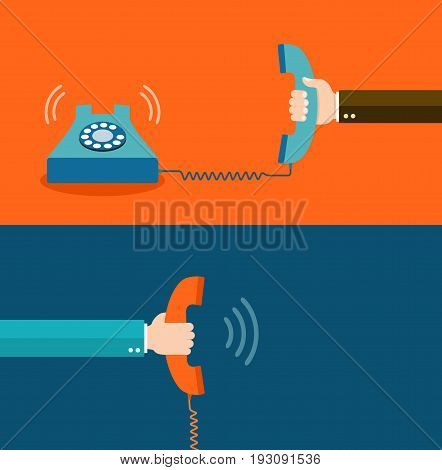Contact us  flat illustration  with hands and phones eps8