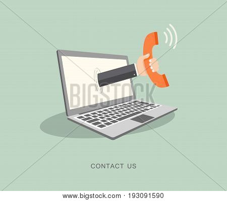 Hand holding phone coming out from laptop. Contact us flat illustration. Eps8