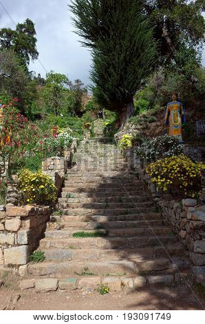 The steps leading up to the Yumani Community on the Isla del Sol on Lake Titicaca