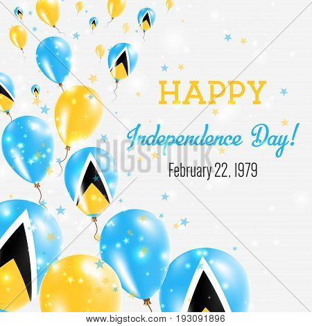 Saint Lucia Independence Day Greeting Card. Flying Balloons In Saint Lucia National Colors. Happy In