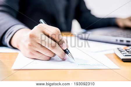 businessman with signature sign business and working in office