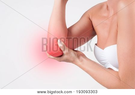 Elbow Pain. Pain In The Joints Of The Hands, Health Care Concept.