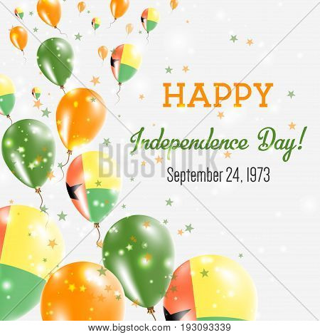Guinea-bissau Independence Day Greeting Card. Flying Balloons In Guinea-bissau National Colors. Happ