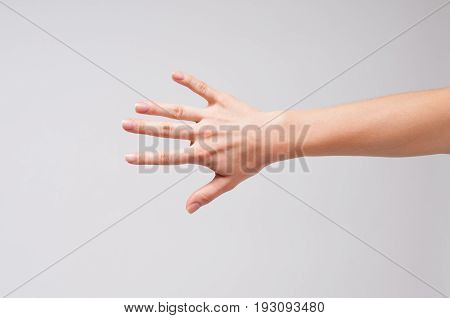 Female Hand And Five Fingers