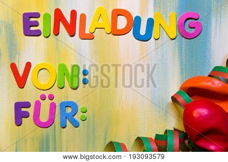 Colorful Letters, German Word, Concept Invitation,