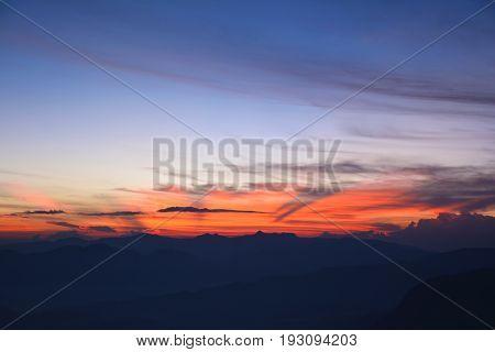 View of the beautiful sunrise from the top of the Adam's Peak (Sri Pada Mountain) Sri Lanka