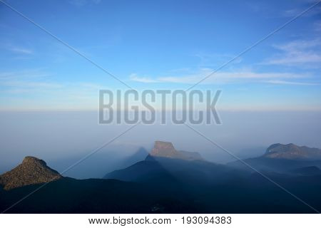 View of the mysterious pyramid shadow from the top of the Adam's Peak (Sri Pada Mountain) Sri Lanka