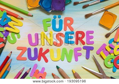 Colorful Letters, German Text, School Supplies