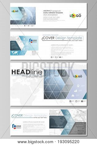 The minimalistic vector illustration of the editable layout of social media, email headers, banner design templates in popular formats. World globe on blue. Global network connections, lines and dots