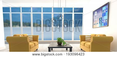 Progress bar and text with various icons on device screen against yellow sofas on floor in modern living room