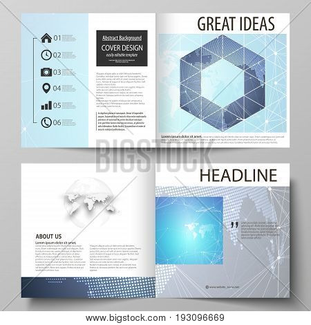 The vector illustration of the editable layout of two covers templates for square design bi fold brochure, magazine, flyer, booklet. Abstract global design. Chemistry pattern, molecule structure