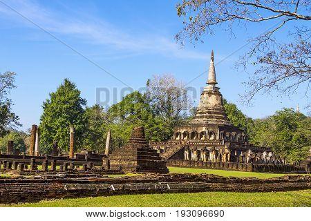 Wat Chang Lom temple in Sisatchanalai Historical Park Sukhothai province Thailand