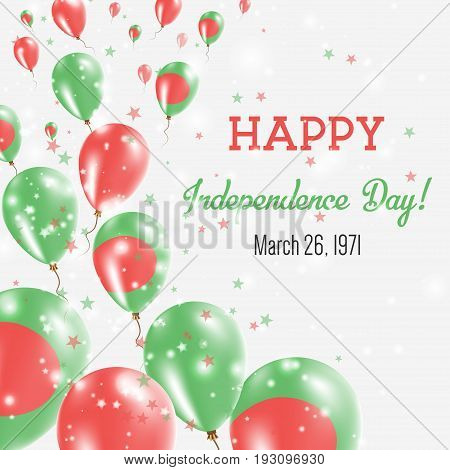 Bangladesh Independence Day Greeting Card. Flying Balloons In Bangladesh National Colors. Happy Inde