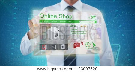 Midsection of man pointing against stocks and shares