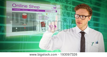 Geeky businessman smiling and pointing against stocks and shares