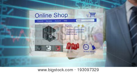 Midsection of businessman pointing against stocks and shares