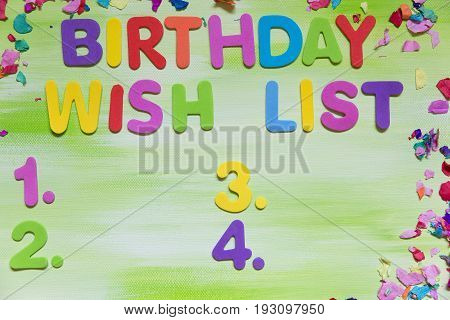 Colorful Letters And Confetti, Birthday Wish List