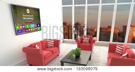 Progress bar with text and icons on device screen against red sofas in living room at modern house