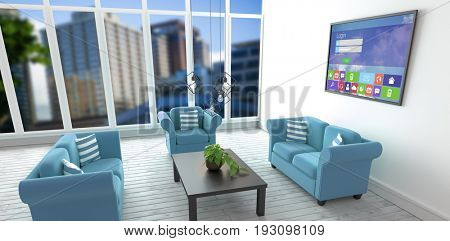 Digitally generated image of login page with various icons against blue sofas in living room at modern house