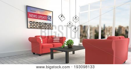 Various computer icons with search bar on device screen against red sofas in modern living room