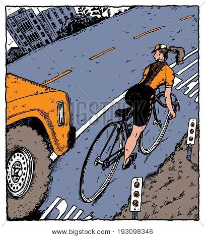 A young woman bicycling with a truck veering dangerously into the bike lane.