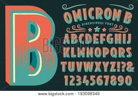 A decorative type font with 3D effects. Vector lettering, punctuation, numerals and swashes.