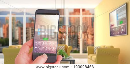 Female hand holding a smartphone against computer generated interior of modern living room