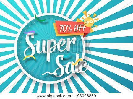 Illustration of Super Sale Vector Poster with Sunburs Lines on Background. Bright Sale Flyer Template
