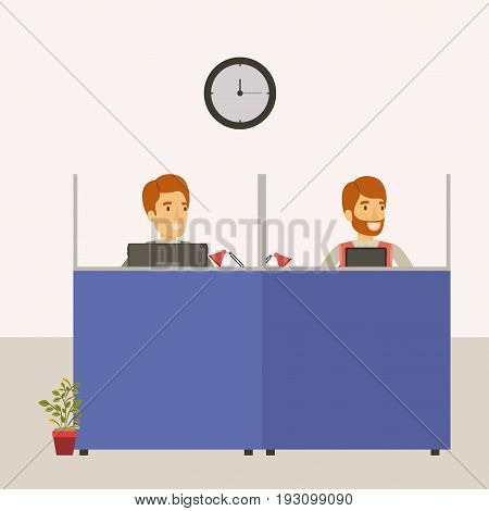 color background cubicles workplace office with man employees vector illustration