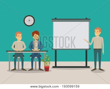 color background couple of man sitting in a desk for executive in presentacion business people vector illustration