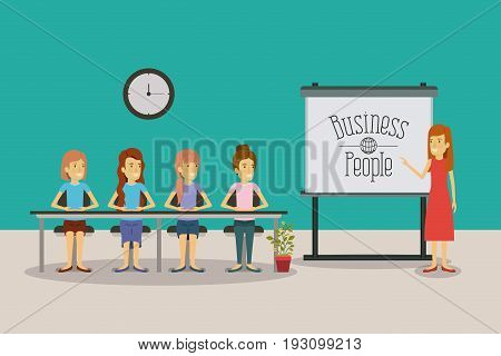 color background women group sitting in a desk for executive female in presentacion business people vector illustration