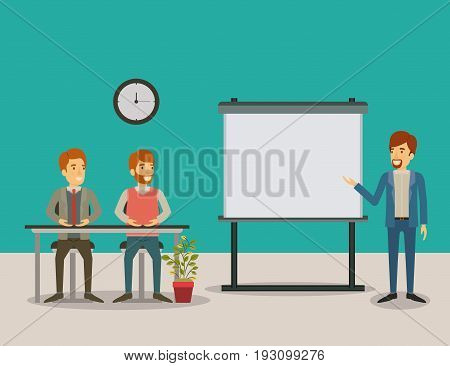color background couple of man sitting in a desk for executive lecturer in presentacion business people vector illustration