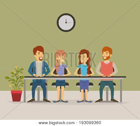 color background with teamwork sitting in table desk meeting business people vector illustration