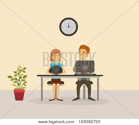 color background with person in yor job sitting in desk with tech devices business people vector illustration