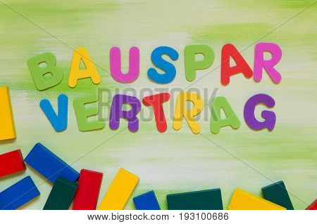 Colorful Letters, German Word, Concept Building Loan Contract