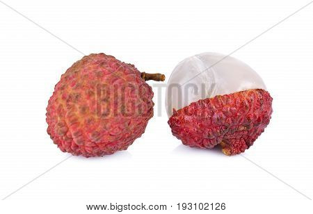 whole and peeled ripe Lychee on white background