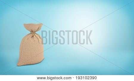 3d rendering of a burlap money bag on blue background. Loads of money. Warehouse goods. Delivery and safekeeping.